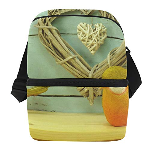Ice Maker Stainless Steel Toe - Lovexue Lunch Bag Wicker Heart Valentine's Day Concept Insulated Cooler Bag Mens Leakproof Grocery Storage Zipper Tote Bags for Lunch