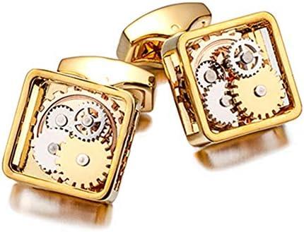 カフリンクス ヴィンテージウォッチムーブメントカフリンク、男性用のユニークなビジネスウェディング用ギフトボックス付き1ペアタキシードシャツカフリンクス (Color : Gold)