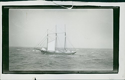 Ship Masted Three (Vintage photo of General Byng America three-masted ship driven in the Atlantic)