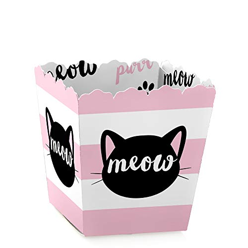 Purr-FECT Kitty Cat - Party Mini Favor Boxes - Kitten Meow Baby Shower or Birthday Party Treat Candy Boxes - Set of 12