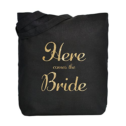 ElegantPark Here Comes the Bride Donne Shopper Naturale Tela 100% Cotone Tote Bags Media Scarpe Regalo Borsa Nero 1 Pack