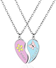 THE KING HIS QUEEN Best Friend Necklace for 2,BFF Necklace Forever Half Heart Pendant Necklaces Friendship Nec