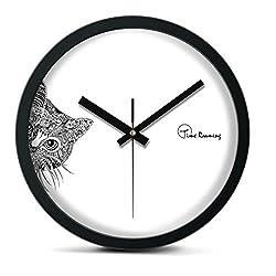 Time Roaming 10 Modern Decor Silent Metal Wall Clock, Peep Cat