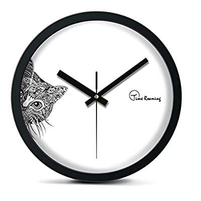 "Time Roaming 10"" Modern Decor Silent Metal Wall Clock, Peep Cat - Material: 100% metal frame with black piano painting. Movement: Sweep international standard quartz movement to ensure accurate travel time clock and quiet living environment. Runs 1 AA battery (not included). Size: 10 inch diameter (25.5cm), depth of 1.65 inch (4.2cm) - wall-clocks, living-room-decor, living-room - 41KNmgQL AL. SS400  -"