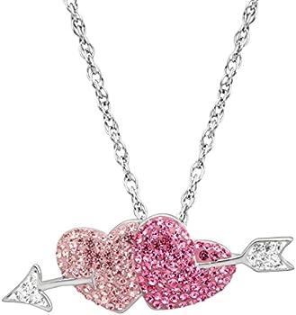 Crystaluxe Double Heart & Arrow Pendant Swarovski Crystals