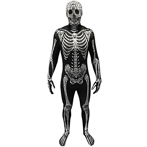 Morphsuits Day of The Dead Costume - Size XLarge - 5'10-6'1 (176cm-185cm) Black/White -