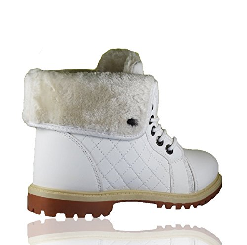 up Snow Sole Girls White Combat Top Lined Ankle High Womens Boot Collared Ladies Trainers Fashion Boots Lace Warm Fur Grip Winter 8Uq4B6