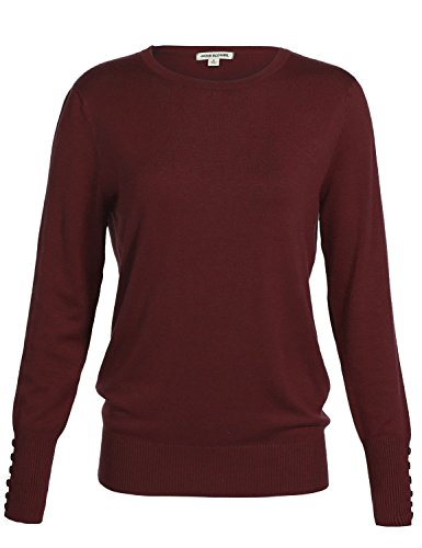 Luna Flower Women's Classic Basic Solid Round Scoop Neck Knit Long Sleeve Ribbed Button Details Tops Pullovers Sweaters BURGUNDY L
