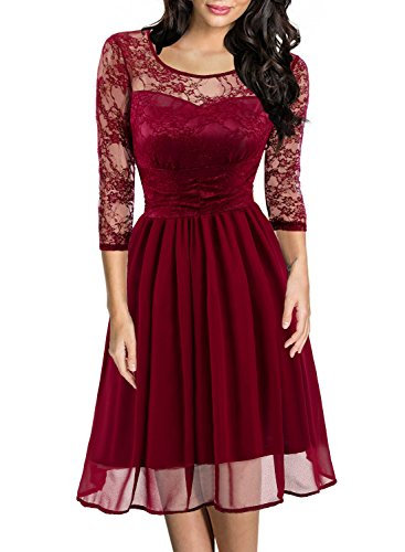 HELYO Women's Retro 1950s Floral Lace 3/4 Sleeve Casual Party Cocktail Swing Dress 581 (M, Red Wine) 50s Nylon Lace