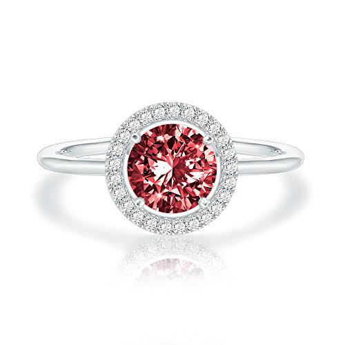 Swarovski Crystal 14K White Gold Plated Birthstone Rings | White Gold Rings for Women | Garnet Ring