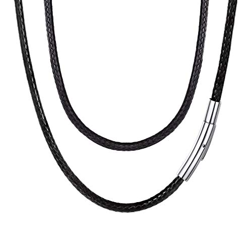 FaithHeart Braided Leather Cord Necklace with Stainless Steel Durable Snap Clasp, 3mm Men Women DIY Woven Wax Rope Chain for Pendant, 18 Inches