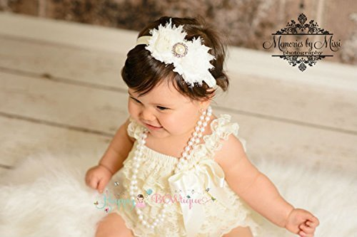 cc67a7dcb854 Image Unavailable. Image not available for. Color  2pcs Baby Girl Vintage  Ivory Petti Lace Romper ...