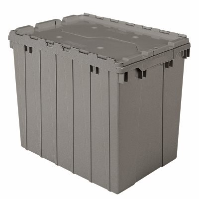 Akrobin Attached Lid Containers 17 Gallon, 21-1/2 x 15 x 17 Gray (18 Case)