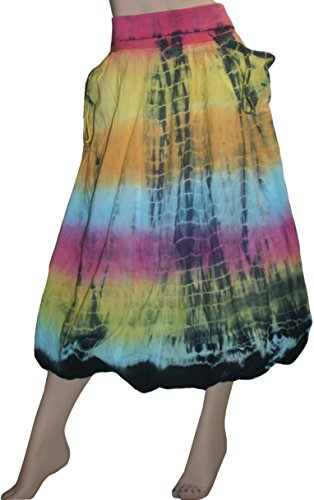 Agan Traders 60 SK Cotton Tie Dye Balloon Front Pocket Bubble Skirt (Medium, (Bubble Hem Balloon)