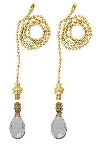 Royal Designs Fan Pull Chain with Flat Teardrop-Shaped Crystal Finial – Polished Brass – Set of 2 (Teardrop Fan Pull)