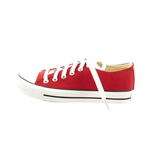Sopily - Scarpe da Moda Sneaker alla caviglia donna lacci Tacco a blocco 2.5 CM - soletta tessuto - Rosso