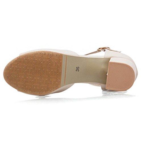 Coolcept Women Fashion Block Heel Sandals Shoes Beige-56 B0G2j