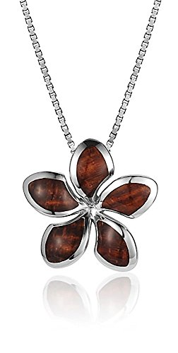 Koa Plumeria Pendant (Sterling Silver Koa Wood Star Plumeria Necklace Pendant with 18
