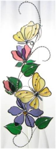Stained Glass Yellow Butterfly Scroll (Yellow Butterfly Stained Glass Suncatcher)