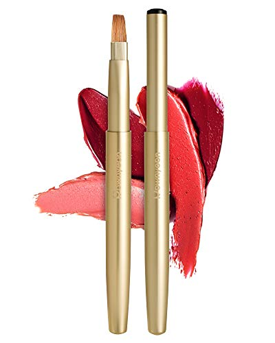 Rownyeon Retractable Lip Brush Applicators Flat for Lipstick Gloss Creams Portable with Cap Travel, Professional Lipstick Brush for Women Girls As Christmas Gift and Halloween Makeup Tools