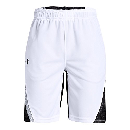 (Under Armour Boys SC30 Short, White (100)/Black, Youth Small)