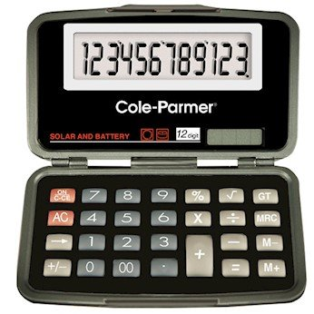 Cole-Parmer Solar/Battery Powered Calculator, Flip-Open, 12-Digit; 1/Ea by Cole-Parmer