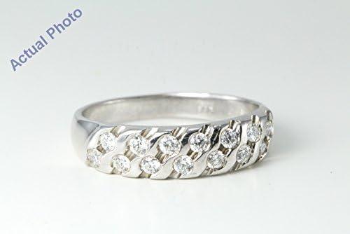 14 ct oro blanco redondo y diamante bisel dos fila moderno Diagonal amplia B & Eternity anillos de boda (0.33ct, F, VS1): Amazon.es: Joyería