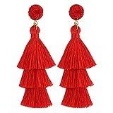 LEGITTA Red Tassel Earrings with Druzy Stud Layered Tiered Linear Drop Dangle Fashion Bohemian Earrings for Women Girls