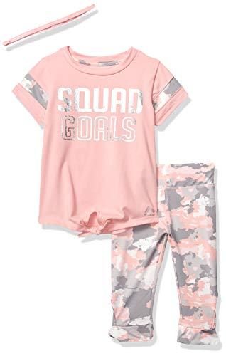 (RBX Girls' Toddler 2 pc Set Active Top/Capri, Squad Goals Pink,)