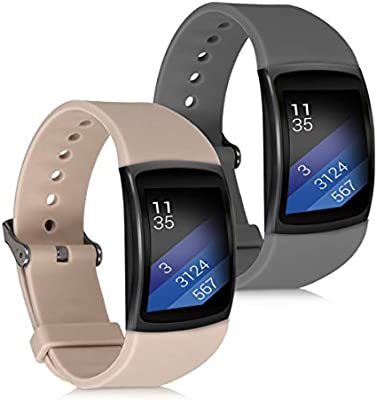kwmobile 2X Pulsera para Samsung Gear Fit2 / Gear Fit 2 Pro - Brazalete de Silicona Gris Oscuro/marrón Topo sin Fitness Tracker