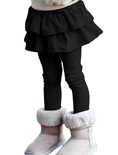 ZIYOYOR Kids Girls Elastic Waist Fleece Lined Leggings with Ruffle Tutu Skirt (5T, Black)