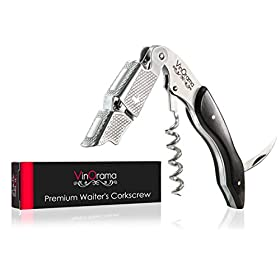 Super Sturdy Premium Waiters Corkscrew by VinOrama – 3-in-1 Wine Opener, Beer Bottle Opener and Foil Cutter with Attractive Gift Packaging