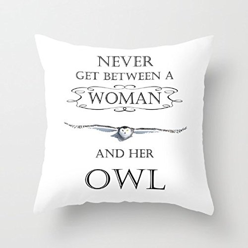 Decorative Pillow Case Never Get Between A Woman and Her Owl Cushion (Aubusson Zebra Pillow)