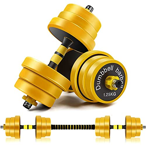MAXZER Fitness Adjustable Dumbbells Set, Free Weight Dumbbell Barbell with Connecting Rod, Set of 2 for Men & Women Up to 44 LB, Strength Training Home Gym Workout Equipment