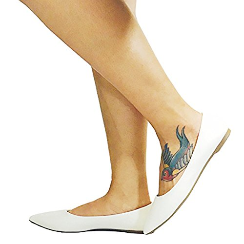 HapHop New Premium Ballerina Pointed Toe Women's Classic Casual Ballet Fancy Flat Shoes, White PU, - Flat Fancy Lady Shoes