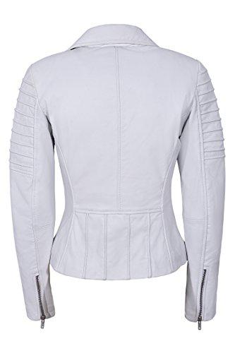 Smart Range Señoras Nuevo 9334 Napa Estilista de moda Biker Soft Chaqueta de cuero real White