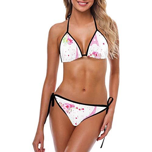 s Tie Side Bottom Triangle Bikini 2 Pic Backless Swimsuits Romantic Paris 5XL ()