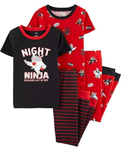 Carter's Boys' Snug Fit Cotton PJs Pajamas (Red/Black Ninja) (7) -