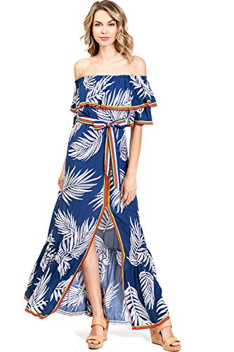 Flying Tomato Women's Juniors Bohemian Center Split Maxi Dress (L, Palm Navy)