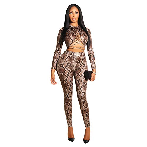 Angsuttc Long Sleeve Bodycon Snake Skin Print Jumpsuit Long Pants Rompers Young Ladies Coffee S ()