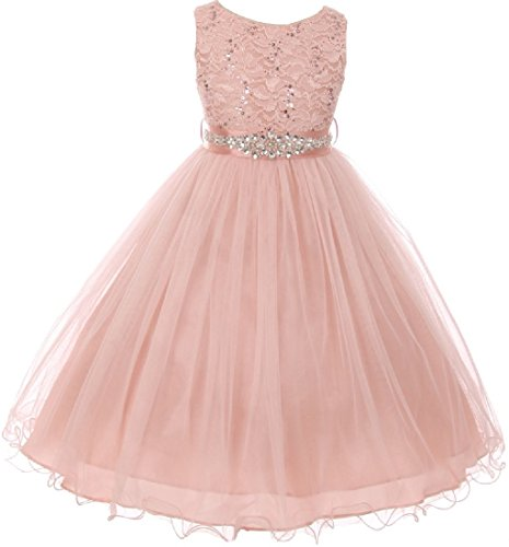 Big Girls' Dress Sparkly Sequins Detachable Rhinestone Crystal Sash Flower Girl Dress Blush 14 (M3B4K0CB)]()