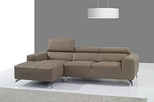 - J and M Furniture 17906121-LHFC Italian Leather Sectional Chaise in Burlywood
