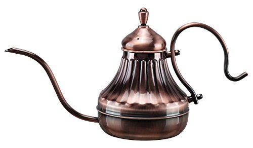Diguo Hand Drip Kettle Pour Over Coffee and Tea Pot, Premium Stainless Steel with Copper Coating, 450ml/15oz Copper