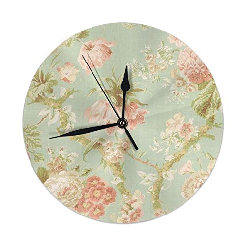 - Dadi-Design Floral Wallpaper Vintage Floral Wallpapers Wall Clock Silent & Non-Ticking Quartz Clock PVC for Home Office School Decorative Round 9.8