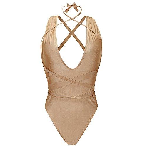 Vandot Mujeres Una Pieza Hueco Bikini Traje De Baño Playa Monokini Beachwear Bathing Suit, Rojo, Tamaño S Banda 03