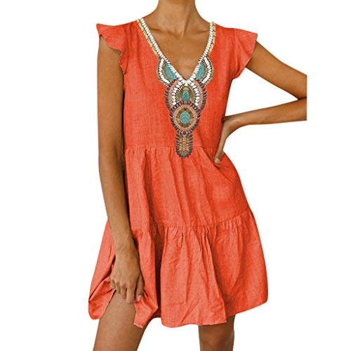 Mysky Fashion Women Summer Bohemian V-Neck Print Fly Sleeve Ruffle Hem Casual Beach Loose Linen Mini Dress Orange