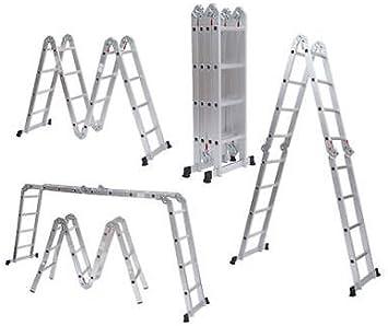 Escalera Andamio Multifuncion Extensible Aluminio Plegable Ajustable 4.9 metros: Amazon.es: Bricolaje y herramientas