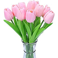 Decora 10Pcs/Bag PU Holland Mini Tulip Artificial Flower Real Touch for Wedding,Room,Home,Hotel,Party Decoration and Holiday Gift(Pink)