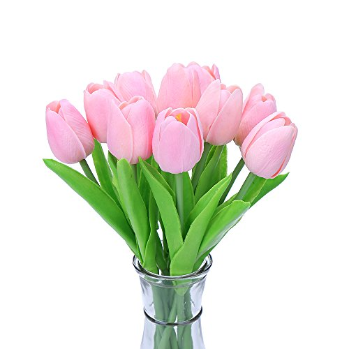 Decora 10Pcs/Bag PU Holland Mini Tulip Artificial Flower Real Touch for Wedding,Room,Home,Hotel,Party Decoration and Holiday Gift(Pink) (Tulip Centerpiece)