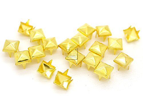 CRAFTMEmore 200pcs 5MM 7MM Pyramid Studs Spot Nailheads 4 Prongs Square DIY Spike for Shoes Cloth Punk Accessories (7 MM, Gold)